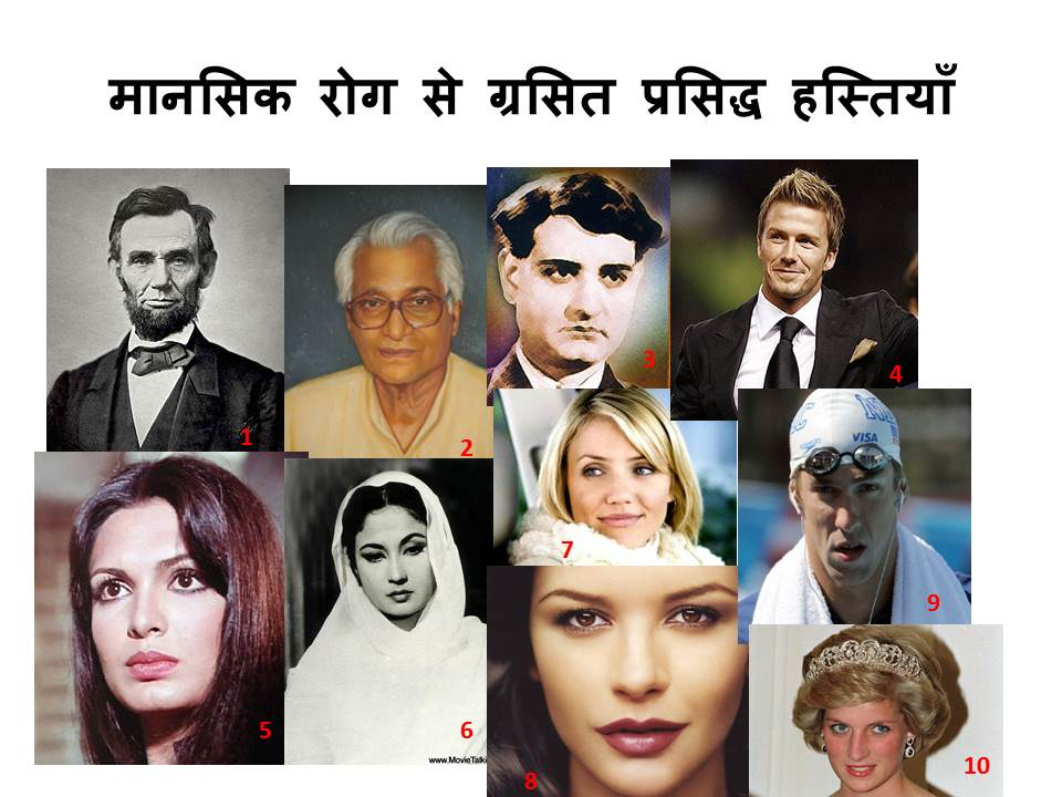 Famous people with mental disorders (poster in hindi)